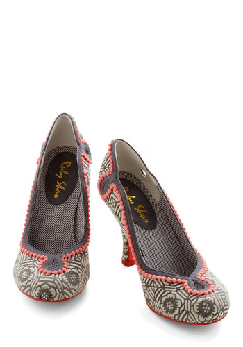 Ornate Office Heel - High, Woven, Coral, Print, Cutout, Special Occasion, Multi, Black, Grey, Beads, Work