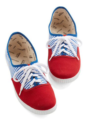 Friendly Competition Sneaker in Stripes - Red, Blue, White, Stripes, Casual, Americana, Better, Lace Up, Flat, Woven, Nautical, Summer