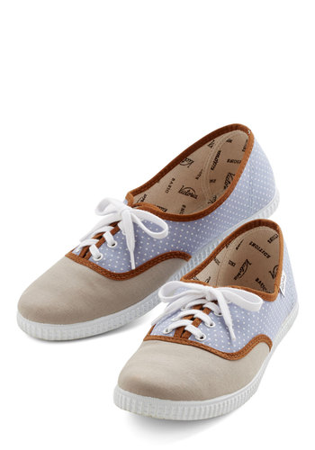 Friendly Competition Sneaker in Dots - Tan, Blue, Polka Dots, Casual, Menswear Inspired, Better, Lace Up, Americana, Trim, White