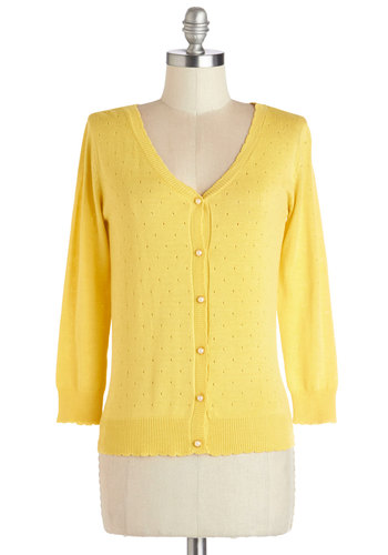 After School Lounging Cardigan in Lemon - Knit, Short, Yellow, Solid, Buttons, Work, Daytime Party, Vintage Inspired, Darling, Long Sleeve, Spring, Yellow, Long Sleeve, Pearls, 50s