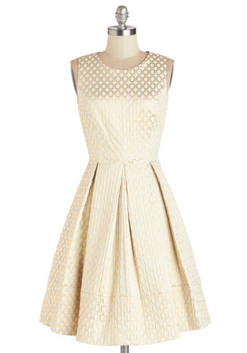 It Began with a Sparkle Dress - White, Gold, Print, Pleats, Special Occasion, Party, A-line, Sleeveless, Woven, Better, Mid-length, Pockets, Wedding, Bridesmaid