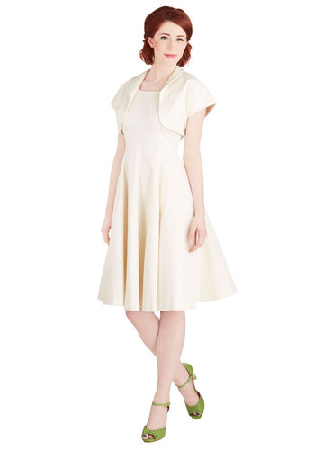Well, I Duo Declare! Bolero and Dress Set - Solid, Wedding, Daytime Party, Bride, A-line, Best, International Designer, Woven, Cream, Pockets, Sleeveless, Scoop, Long