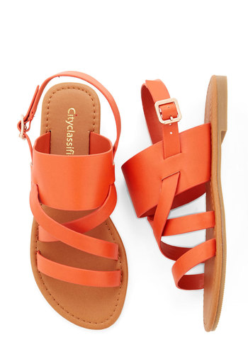 One-Gal Band Sandal in Orange - Flat, Faux Leather, Orange, Solid, Casual, Beach/Resort, Spring, Summer, Good, Strappy, Variation