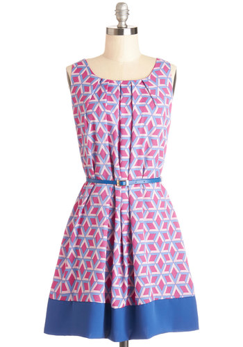 Sitting Giddy Dress - Print, Pleats, Belted, A-line, Sleeveless, Summer, Good, Scoop, Chiffon, Woven, Multi, Work, Casual, Show On Featured Sale, Short