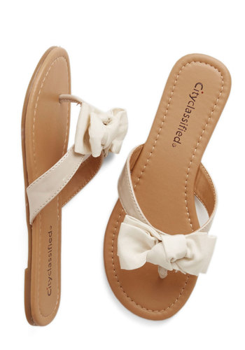 Fancy You Soon Sandal in Ivory - Flat, Faux Leather, Cream, Solid, Bows, Casual, Daytime Party, Beach/Resort, Darling, Spring, Summer, Good, Variation, Americana
