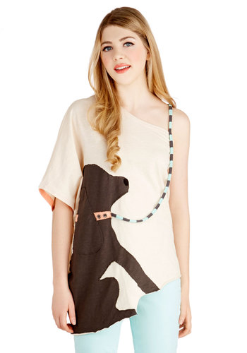 It's the Leash I Can Do Top by Heel Athens Lab - Cotton, Knit, Mid-length, Cream, Brown, Print with Animals, Casual, Quirky, Critters, High-Low Hem, Off the Shoulder, Short Sleeves, White, Short Sleeve, International Designer, One Shoulder, Spring, Summer, Good