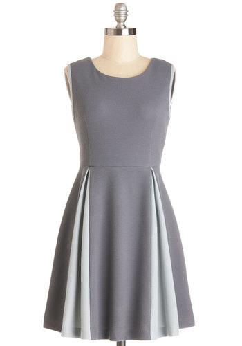 A Keen Slate Dress by Kling - Grey, Pleats, Casual, A-line, Sleeveless, Better, Scoop, Knit, Mid-length, Work, Press Placement