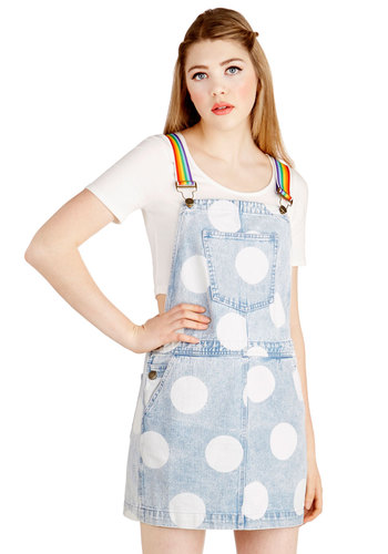 Livin' la Vida Polka Dot Jumper by Lazy Oaf - Blue, Polka Dots, Pockets, Casual, 80s, 90s, Jumper, Spring, Summer, Denim, Best, Blue, Cotton, Woven, Multi, Vintage Inspired, Long