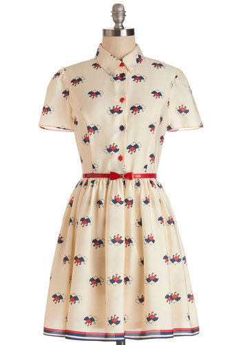 April Showers Dress - Cream, Red, Novelty Print, Buttons, Belted, Casual, Vintage Inspired, Quirky, A-line, Shirt Dress, Short Sleeves, Better, International Designer, Collared, Chiffon, Woven, Mid-length, Blue
