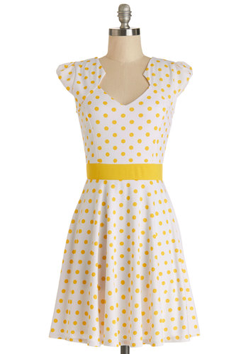 The Story of Citrus Dress in Lemon - White, Yellow, Polka Dots, Casual, A-line, Cap Sleeves, Summer, Knit, Good, Variation, Mid-length