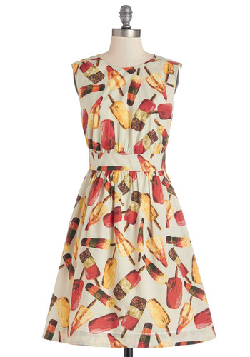 Too Much Fun Dress in Popsicles by Emily and Fin - Multi, Novelty Print, Casual, Quirky, Cap Sleeves, Better, International Designer, Variation, Cotton, Pockets, Summer, Americana, Sundress, Top Rated, Mid-length, Fit & Flare, Exclusives