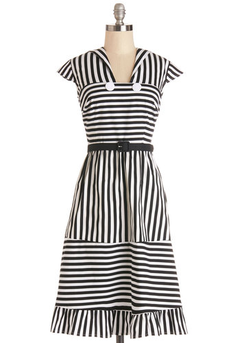 For Better or Wharf Dress - Woven, Long, Black, White, Stripes, Buttons, Belted, Casual, Nautical, A-line, Cap Sleeves, Better, Multi, Show On Featured Sale
