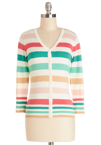 Charter School Cardigan in Candy Counter - Knit, Mid-length, Multi, White, Coral, Mint, Stripes, Buttons, Work, Scholastic/Collegiate, 3/4 Sleeve, Spring, Variation, Multi, 3/4 Sleeve, Best Seller