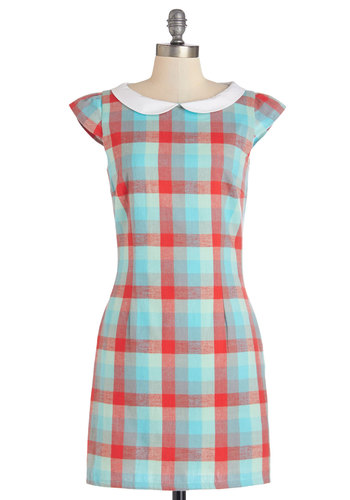 Do You Read Me? Dress - Plaid, Peter Pan Collar, Casual, Vintage Inspired, 60s, Shift, Summer, Woven, Better, Collared, Americana, Multi, Red, Blue, White, Cap Sleeves, Sundress, Cotton, Pockets, Mid-length