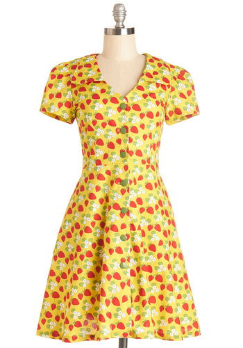 Floral Field Day Dress in Strawberries by Bea & Dot - Yellow, Multi, Novelty Print, Buttons, Pockets, Daytime Party, Fruits, Shirt Dress, Short Sleeves, Better, Collared, Scoop, Knit, Vintage Inspired, 40s, 50s, Exclusives, Variation, Private Label, Show On Featured Sale, Mid-length