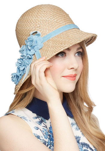 Pure Edith Hat in Blue - Tan, Blue, Solid, Flower, Daytime Party, Best, Variation, Vintage Inspired, 20s, 30s, Spring, Summer, Woven, Press Placement