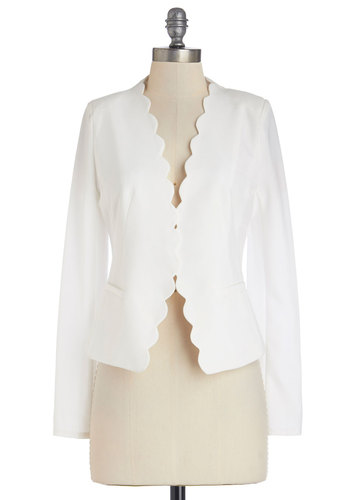 Detour Du Jour Blazer - Good, White, White, Solid, Pockets, Scallops, Work, Daytime Party, Long Sleeve, Short, 1