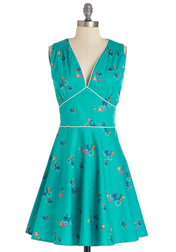 Good Golly to Go Dress by Trollied Dolly - Blue, Novelty Print, Trim, Casual, A-line, Sleeveless, Summer, Woven, Better, International Designer, V Neck, Multi, Mid-length, Sundress
