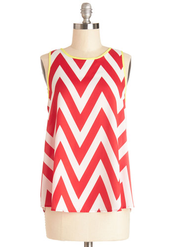Game Night Hostess Top - Red, Sleeveless, Mid-length, Red, White, Chevron, Casual, Sleeveless, Summer, Americana, Good