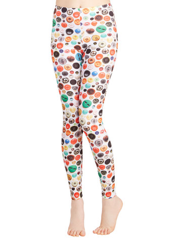 Affix Me Up Leggings - Skinny, Good, Full length, White, Non-Denim, Novelty Print, Casual, 90s, Quirky, High Rise, Multi, Buttons, Vintage Inspired