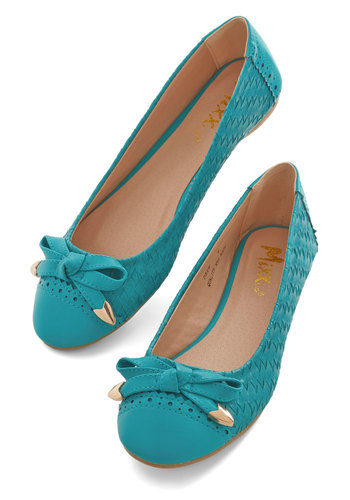 Sweet Surprises Flat - Flat, Faux Leather, Blue, Bows, Woven, Daytime Party, Good, Solid, Casual, Top Rated