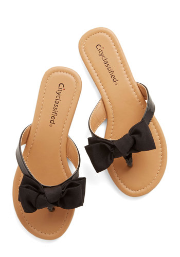 Fancy You Soon Sandal in Black - Faux Leather, Flat, Black, Solid, Bows, Casual, Daytime Party, Summer, Good, Darling, Variation, Americana