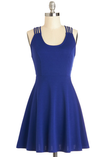 Twirl-wind Romance Dress - Blue, Solid, Backless, Party, A-line, Good, Scoop, Short, Knit, Sleeveless