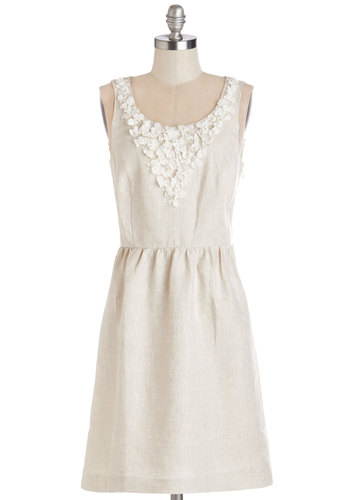 Naturally Noteworthy Dress by Kensie - Tan, White, Flower, A-line, Sleeveless, Woven, Better, Scoop, Mid-length, Daytime Party