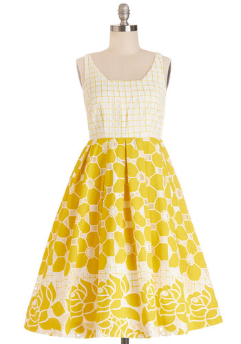 Frockin' on Sunshine Dress - Woven, Yellow, White, Print, Daytime Party, Tank top (2 thick straps), Better, Floral, Pockets, Fit & Flare, Exclusives, Scoop, Graduation, Sundress, Show On Featured Sale, Long