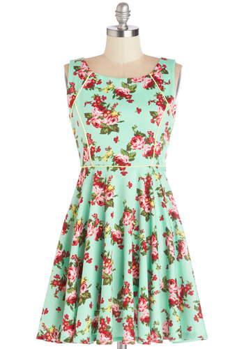 Woman in the Office Dress - Multi, Floral, Trim, Daytime Party, A-line, Sleeveless, Good, Scoop, Knit, Short, Mint, Work, Casual