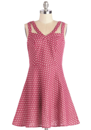 Let's Think Pink Dress - Pink, White, Print, Cutout, Casual, A-line, Sleeveless, Good, Sweetheart, Summer, Woven, Mid-length, Cotton