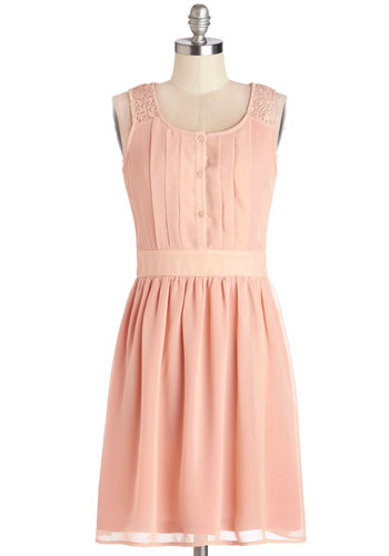 Surprise to the Top Dress - Pink, Solid, Buttons, Lace, Pleats, A-line, Sleeveless, Summer, Woven, Good, Scoop, Mid-length, Embroidery, Social Placements, Casual