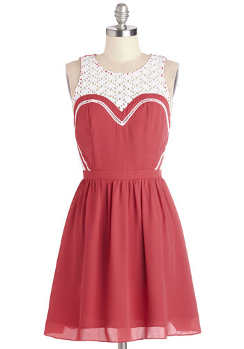 Memorable Maneuver Dress - Red, White, Eyelet, Trim, Casual, A-line, Sleeveless, Summer, Woven, Better, Scoop, Mid-length, Valentine's