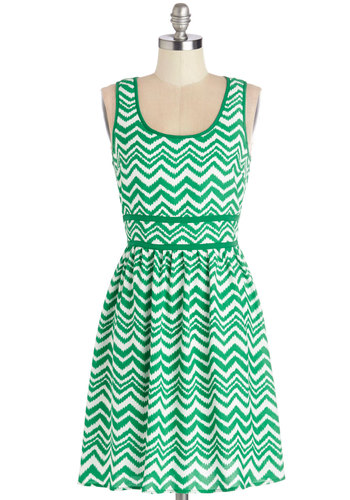 Bold and Breezy Dress - Green, White, Chevron, Trim, A-line, Sleeveless, Woven, Good, Scoop, Mid-length, Exposed zipper, Sundress, Casual