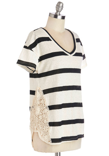 Face the Breeze Top - Black/White, Short Sleeve, Mid-length, Black, Stripes, Crochet, Casual, Short Sleeves, Spring, Summer, V Neck, Multi, Tan / Cream, Top Rated