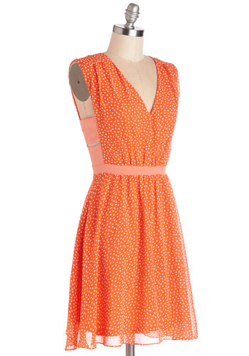 Herb Garden Party Dress in Orange - Orange, White, Novelty Print, Cutout, Casual, A-line, Sleeveless, Summer, Woven, Good, V Neck, Mid-length, Variation