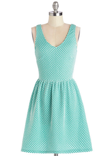 Refreshment to Be Dress - Mid-length, Knit, White, Polka Dots, Casual, A-line, Tank top (2 thick straps), Good, Scoop, Mint, V Neck
