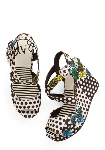Ooh-La-Luau Wedge in Piña Colada - Woven, Polka Dots, Party, Cocktail, Spring, Summer, High, Best, Wedge, Strappy, Multi, Black, White, Novelty Print, Fruits, Platform, Variation