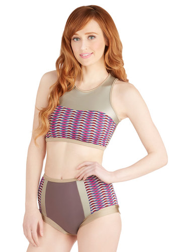 It's a Surf Thing Swimsuit Top by Seea - Knit, Beach/Resort, 80s, Urban, Summer, Multi, Purple, Grey, Print