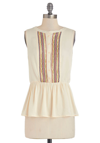 Just a Taste Top - Mid-length, Cream, Embroidery, Work, Peplum, Sleeveless, Spring, White, Sleeveless, Multi