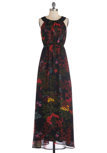 You're Simply the Nest Dress - Maxi, Woven, Long, Party, Sleeveless, Better, Floral, Multi, Red, Green, Black, Bird, Woodland Creature