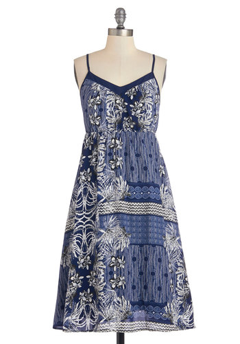 Patio Mingling Dress - Festival, Long, Woven, Blue, White, Print, Casual, A-line, Spaghetti Straps, Better, Boho