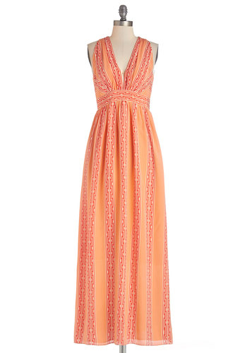 Lauren Moffatt Gallery Crawl Doll Dress by Lauren Moffatt - Coral, Red, Print, Daytime Party, Maxi, Sleeveless, Best, V Neck, Orange, Beach/Resort, Long