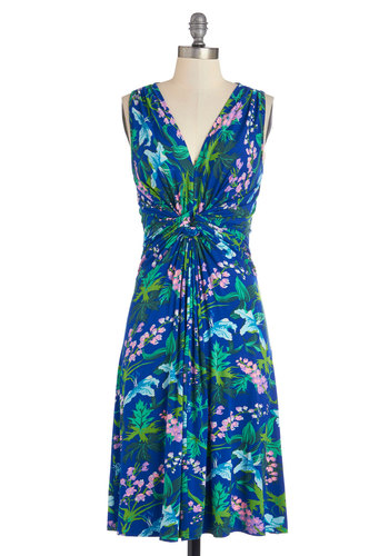 Bring Your Brightest Dress - Multi, Floral, Daytime Party, A-line, Sleeveless, Better, V Neck, Knit, Long, Blue, Ruching, Beach/Resort
