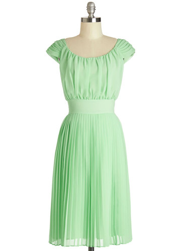 Walking by the Water Dress in Mint - Long, Green, Solid, Pleats, Special Occasion, Wedding, Daytime Party, Bridesmaid, A-line, Cap Sleeves, Better, Scoop, Exclusives, Variation, Graduation, Show On Featured Sale