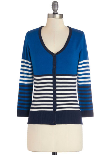 Casual or Nothing Cardigan - Knit, Mid-length, Blue, Black, Stripes, Buttons, Casual, Scholastic/Collegiate, 3/4 Sleeve, Blue, 3/4 Sleeve, White