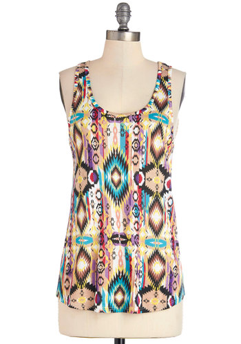 Sunday Funday Top - Multi, Sleeveless, Knit, Mid-length, Multi, Yellow, Blue, Tan / Cream, Print, Casual, Festival, Tank top (2 thick straps), Spring, Summer, Scoop, Good, Boho