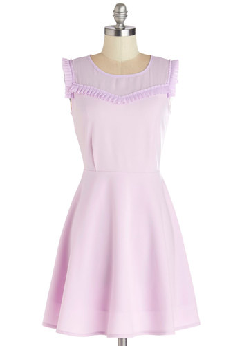 Ready to Celebrate Dress by Kling - Purple, Solid, Ruffles, Daytime Party, Pastel, A-line, Sleeveless, Better, Scoop, Mid-length, Chiffon, Sheer, Woven, Graduation