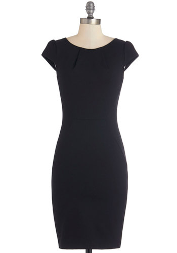 Cheers to Panache Dress - Black, Solid, Pleats, Party, LBD, Shift, Cap Sleeves, Good, Scoop, Knit, Backless, Cocktail, Minimal, Mid-length