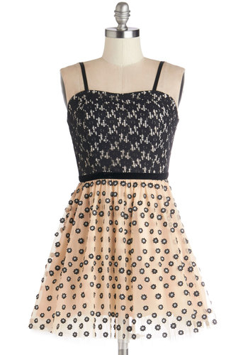 Twofer Won Dress by Yumi - Tan / Cream, Black, Print, Exposed zipper, Lace, Trim, Party, A-line, Twofer, Spaghetti Straps, Better, Sweetheart, Short, Woven, Lace